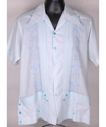 Vtg Guaya-Teca Short Sleeve Shirt-L 40-Blue-Button-Polyester-Pockets-Emb... - $31.78