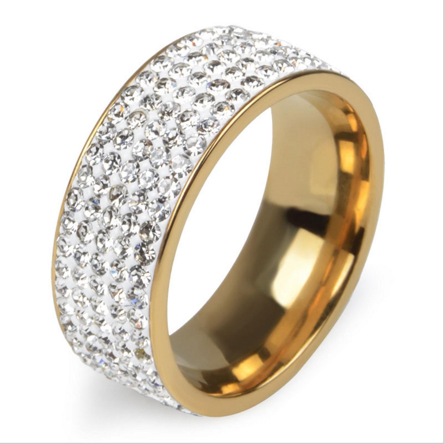 5 Rows Crystal Stainless Steel Ring Women Elegant Full Finger Wedding Jewelry
