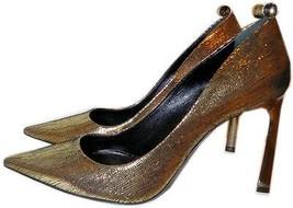 $980 Lanvin Classic Gold Metallic Pump Crystal Studded Heel Shoe 39- 8.5 - $388.00