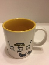 Department 56 Scottie Cafe Scotch Terrier Coffee Cup/Mug Yellow Black White - $9.49