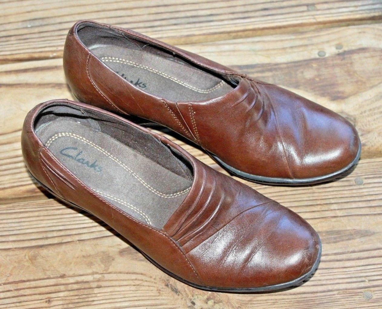 Clarks Size 7 M 83586 Foxtrot Slip On Ruching Casual Wedge Loafers Clogs Women's
