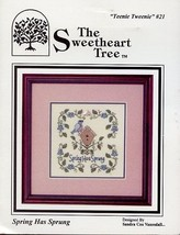 Spring Has Sprung Teenie Tweenie 21 Cross Stitch Pattern w/Charm NEW - $4.92