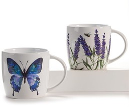 Set of 2 18 oz Coffee Mugs - Nature Design Accents -Blue Butterfly & Purple Iris