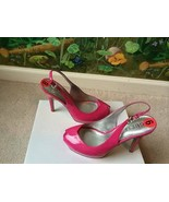 Guess Women Patent Pink Open Toe Heel Sandals Shoes  size 6 New - $57.42