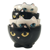 Pacific Giftware Adorable Ceramic Black and White Cats Nesting Measuring... - $19.79