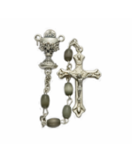 BLACK OVAL IMITATION PEARL BEADS ROSARY CRUCIFIX CROSS AND CHALICE CENTER - $37.99