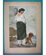 YOUNG MAIDEN Water Carrier Seashore by A. Feuerbach - 1911 COLOR Antique... - $13.46