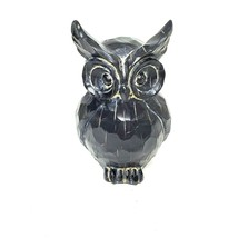 """Resin Carved Black Owl Statue Figurine 8"""" Tall Distressed Paint Beaded Eyes - $24.98"""