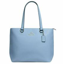 NWT Coach F48637 Bay Tote Cornflower Blue Polished Pebble Leather Should... - $114.99