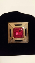 Red Crystal Solitaire Square Vintage Brooch Pin - $0.00