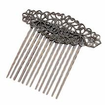 3 Pcs Retro Bronze Metal Side Comb Carved Flower Vines Hairpin Topknot Hair Clip