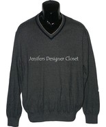 NWT BOBBY JONES Golf  V-neck M sweater cotton cashmere navy pinstripe pu... - $72.70