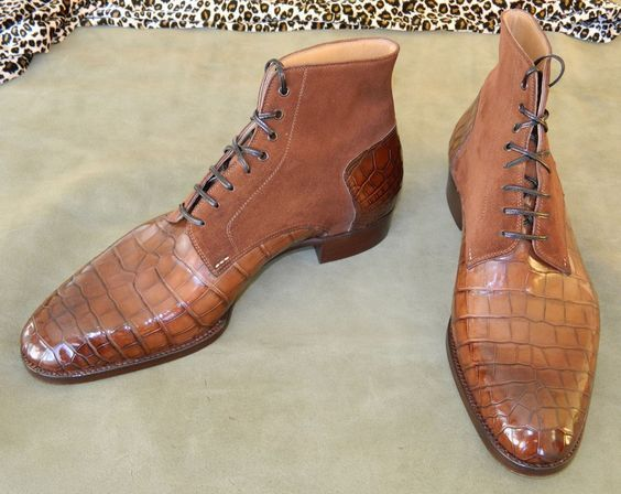Handmade Men's Brown Crocodile Texture Leather and Suede High Ankle Lace Up