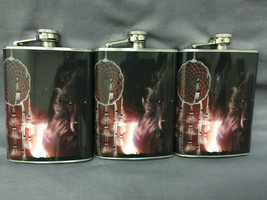 Set of 3 Dream Catcher Wolf Flasks 8oz Stainless Steel Hip Drinking Whiskey - $21.73