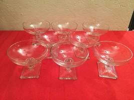 VTG Set of 8 Low Sherbet/Champange Heisey New Era Art Deco Clear Glasses - $90.00