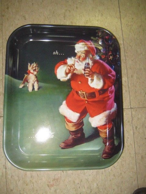 "Primary image for Coca Cola Metal Santa Tray ""When Friends Drop In"" - New - Replica"