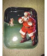 """Coca Cola Metal Santa Tray """"When Friends Drop In"""" - New - Replica - $11.39"""