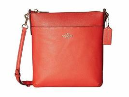 COACH Crossgrain Leather Courier Crossbody Li/Deep Coral One Size