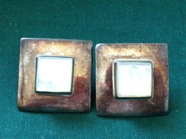 LARGE STERLING SILVER MODERNIST MOP EARRINGS 925 THAILAND - $26.60