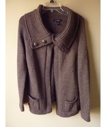 U-Knit Womens Brown knit Sweater with collar open front  M Medium - $19.55