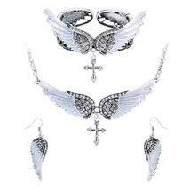 Women's Angel Wing Cross Necklace Earrings Bracelet Set image 3