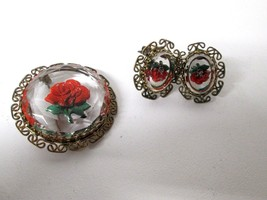 Vintage Reverse Carved Lucite Red Rose Clip On Earrings Brooch West Germany - $31.18