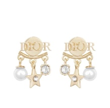 AUTH Christian Dior 2019 DIO(R)EVOLUTION Pearl Crystal Star Dangle Earrings Gold