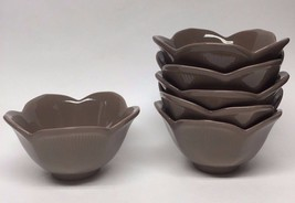 Pier 1 Lotus Brown Cocoa Scalloped Dip Sauce Bowl SET OF 6 - $23.36