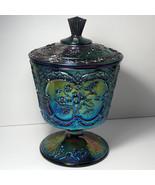 FENTON CARNIVAL GLASS vintage Amethyst candy dish bowl urn wild strawber... - $247.50