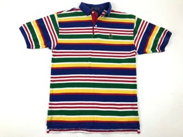 Tommy Hilfiger Polo Shirt Multi Color Striped Short Sleeve Logo Youth Xl - $14.85