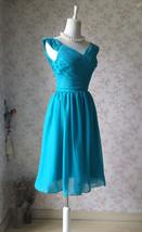 Teal Short Bridesmaid Dresses Prom Dress Teal Color Dresses Sleeveless XXXL NWT image 4