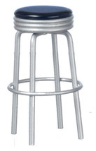 Dollhouse Miniature - 1950's Metal Stool Style Furniture - Black Top - $10.99