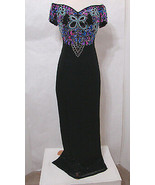 THE PAGEANT SHOP Gown 100% Silk Colorful Off-Shoulder Heavy Jeweled Trop... - $179.99