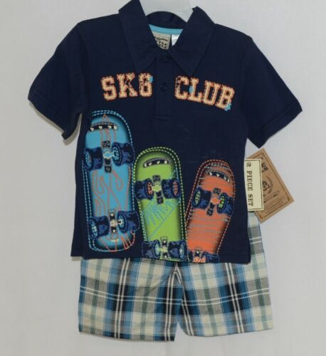Little Rebels SK8 Club Polo Shirt Short Set Blue Plaid Size 12 Months