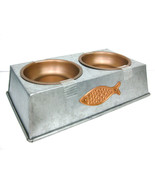PET CAT Metal Feeder 2 DISHES Silver base and Copper plates, Fish design - $22.77