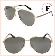 GUCCI WEB 0137 Gold Aviator Metal Silver Mirrored Sunglasses GG0137S Uni... - $287.10