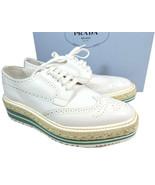 Prada White Espadrill Lace Up Wing Tip Oxford Platform Wedge Flat Shoe 3... - $399.00