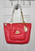 Coach Women Poppy Eyelet Small Tote Leather Chain Shoulder Bag Watermelon  - $185.00