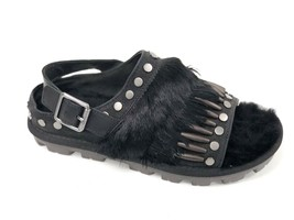 Ugg Australia Women's BIKER CHIC SANDAL Black 1092813 Fashion Buckle Studded Fur - $99.99