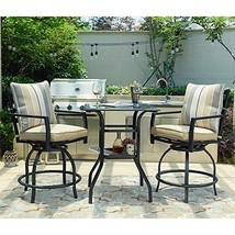 LOKATSE HOME Patio Bar Height Set with 2 Outdoor Swivel Chairs and 1 Hig... - $359.26
