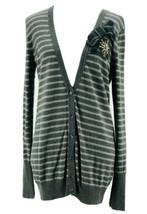 Ann Taylor Loft Women's Gray Wool Blend Striped Button Down Cardigan Siz... - $14.85