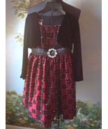 Love Girls Black & Red Brooch Velvety Top Floral Skirt  Occasion Dress S... - $29.69