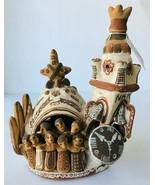 Folk Art Clay Sculpture Church & Choir & Clock Add Votive Candle Signed MHM - $25.15