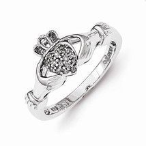 STERLING SILVER .08CT  DIAMOND CLADDAGH  RING - SIZE 8 - £103.45 GBP