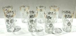 Lot of (8) Vintage Hazel Atlas Drinking Glasses White Floral Design Gold... - £21.37 GBP