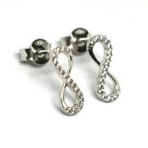 Drop Earrings White Gold 750 18k,Infinity Symbol 1.3 cm, Zircon Cubic image 1