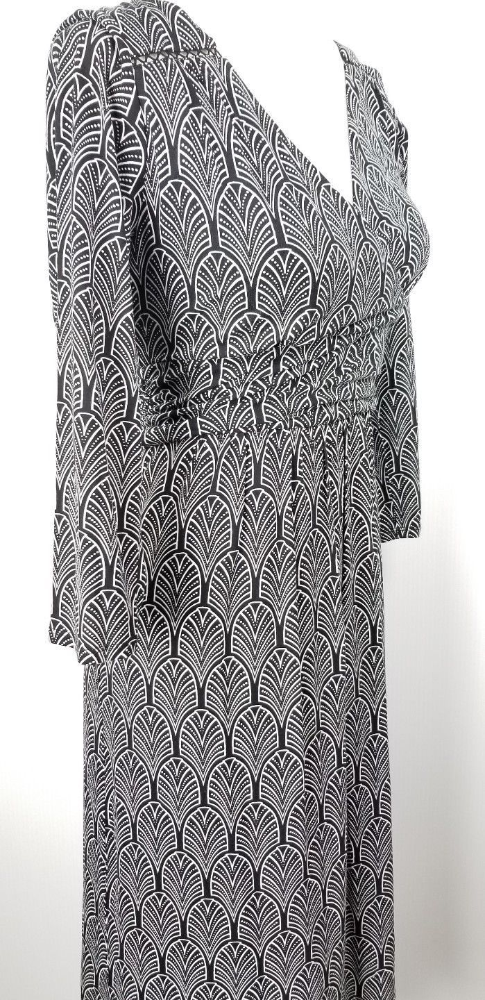 Maeve Anthropologie Faux Wrap Dress M Black White Geometric Stretch Lined