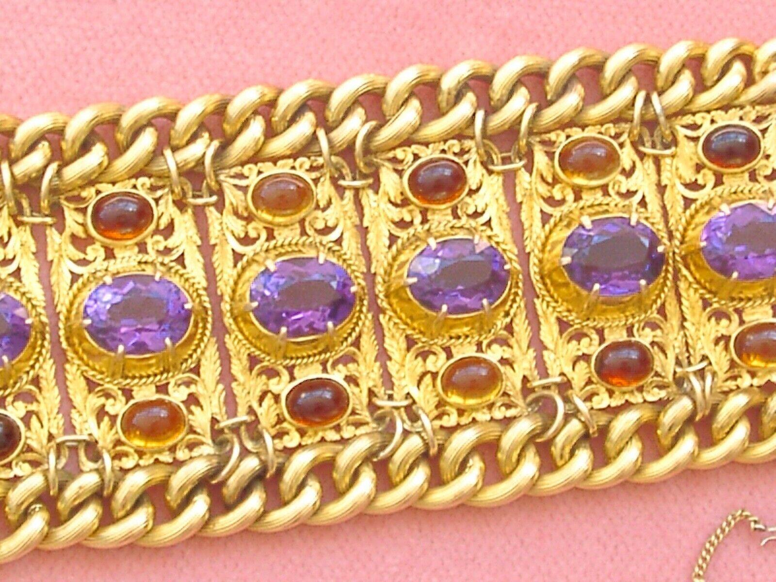 ANTIQUE VICTORIAN AMETHYST CITRINE 152gr 18K HEAVY CUFF STATEMENT BRACELET c1880