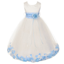 Ivory Satin Bodice Layers Tulle Skirt Baby Blue Flower Ribbon Brooch and Petals - $48.00
