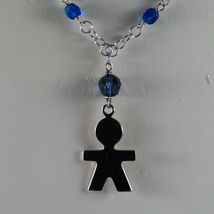 .925 SILVER RHODIUM NECKLACE WITH BLUE CRYSTALS AND LITTLE BOY SHAPED PENDANT image 3